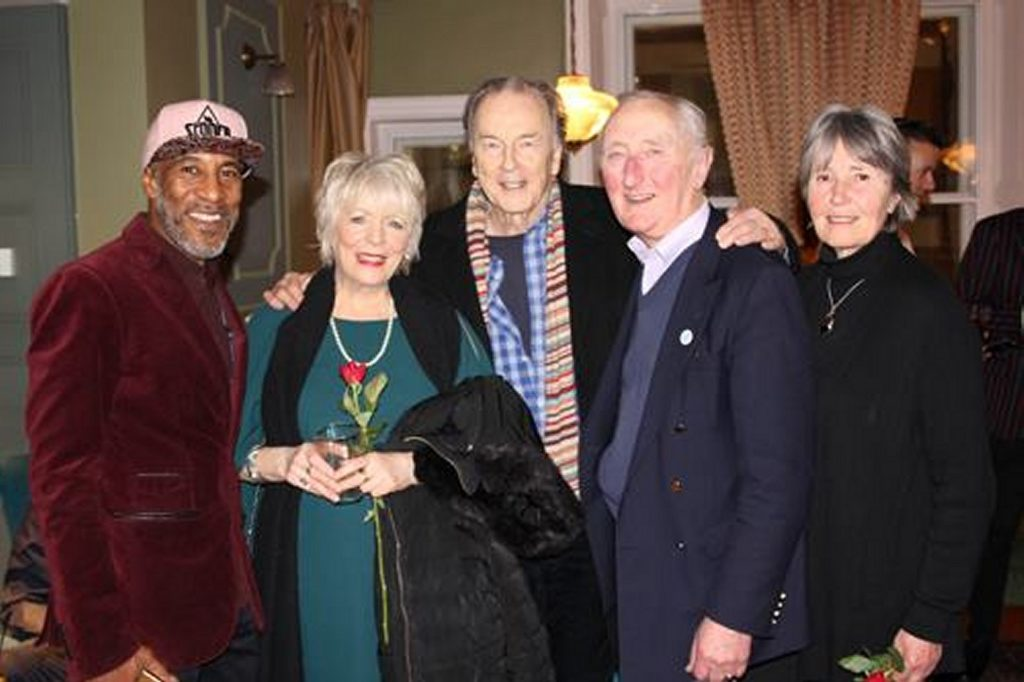 Nigel and Janet pose for the camera with ToC Patrons Alison Steadman and Michael Elwyn, and concert director Danny John-Jules image.