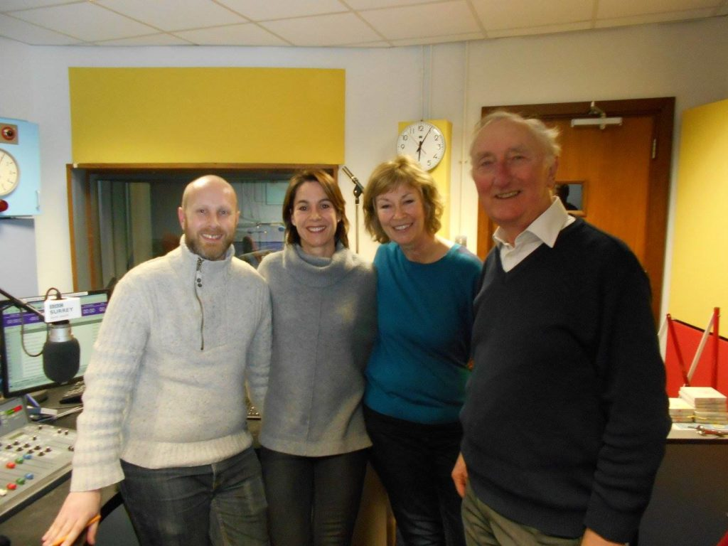 Anne, Gaynor and Nigel at BBC Radio Surrey with Mike Dixon image