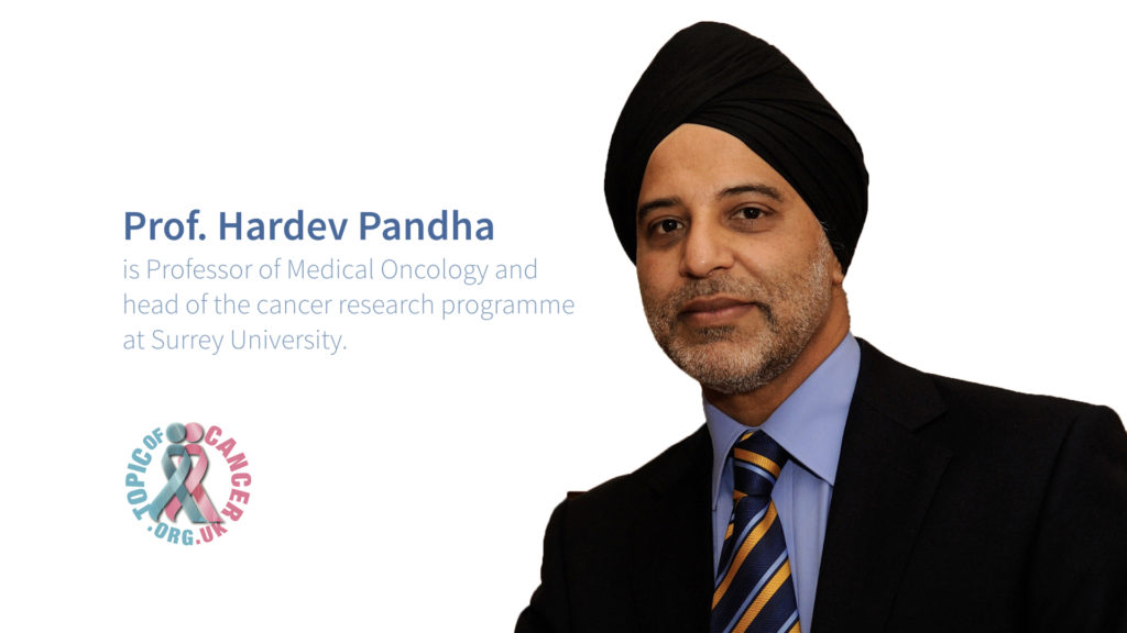 Video poster graphic for Prof. Hardev Pandha interview.