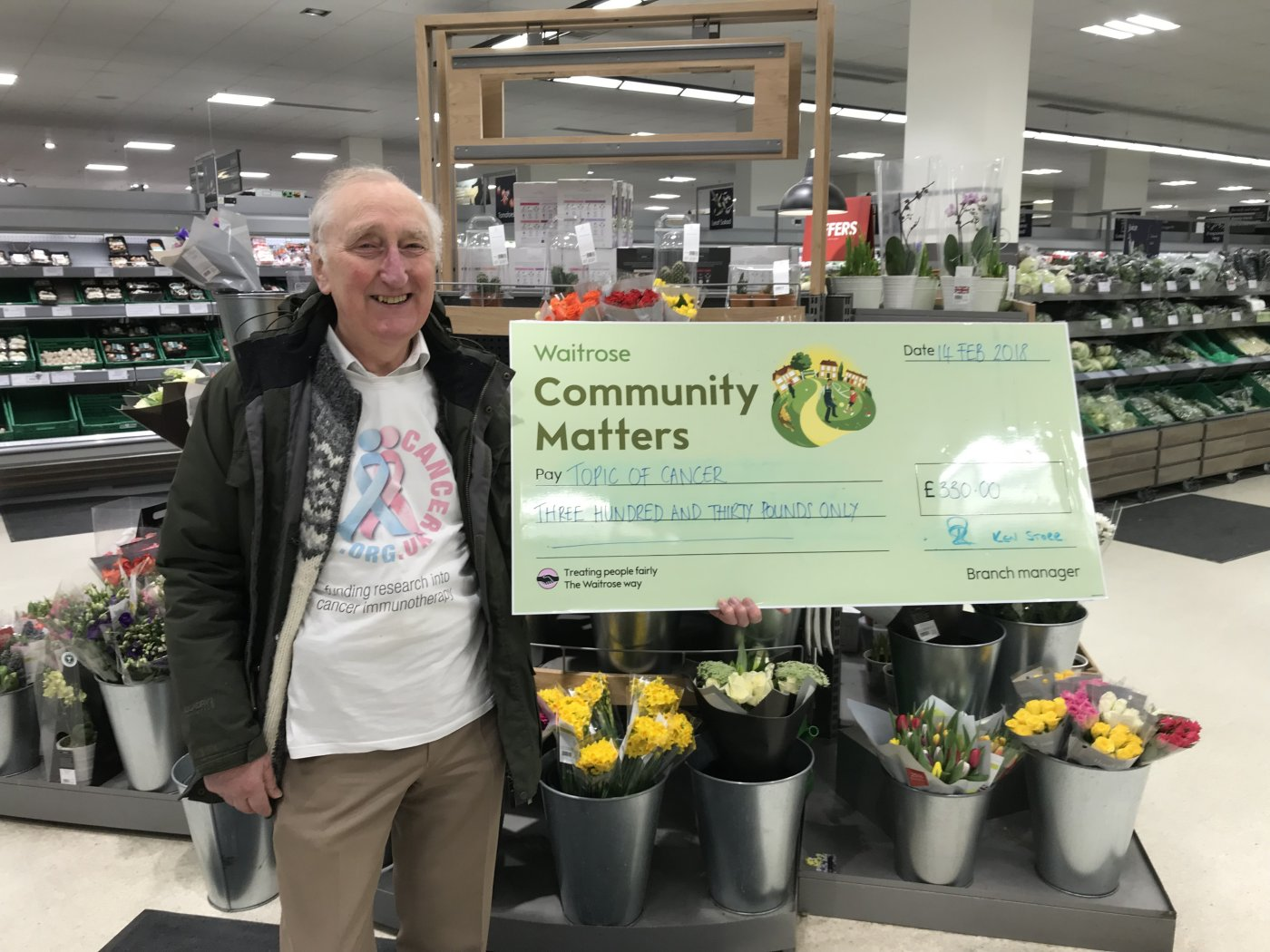 Nigel receiving a cheque from Waitrose image.
