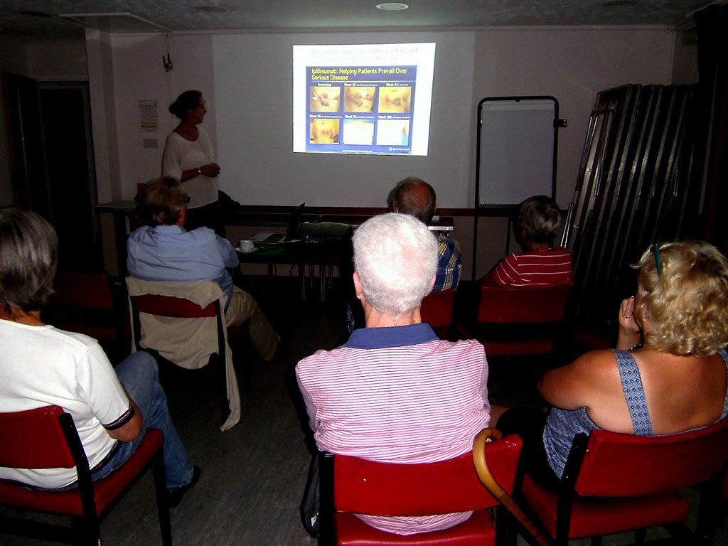 Dr Nicola Annels does a presentation to the Bookham support group.